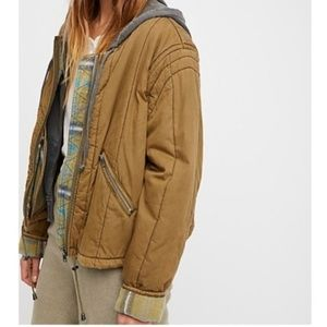 Free People Cozy Quilted Plaid Jacket Green Small